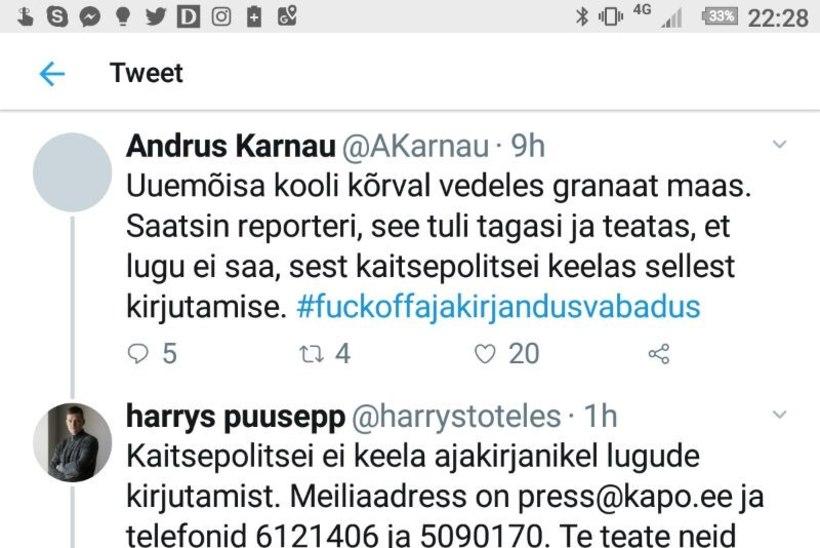 Andrus Karnau sattus kapo pressiesindajaga säutsusõtta! Loe vihaseid postitusi, mis Twitterist kustutati
