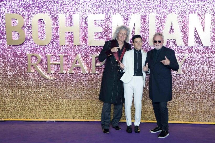 Freddie Mercury bändikaaslased poseerisid Queeni filmi esilinastusel