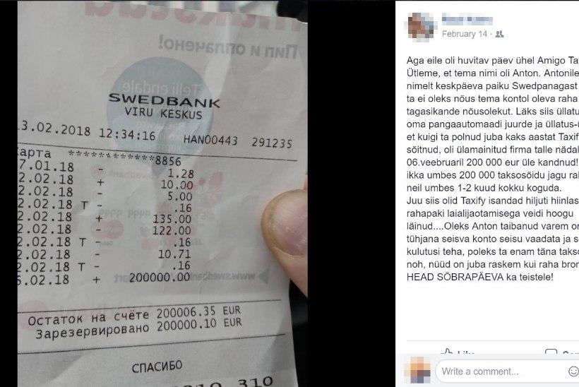 Taksojuht sai 200 000 eurot ja jäi sellest ka kohe ilma