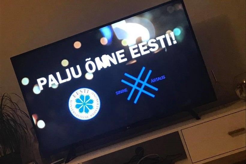 FOTOUUDIS | OIH! EKRE tellis teleekraanile kirjavigase õnnitlusreklaami