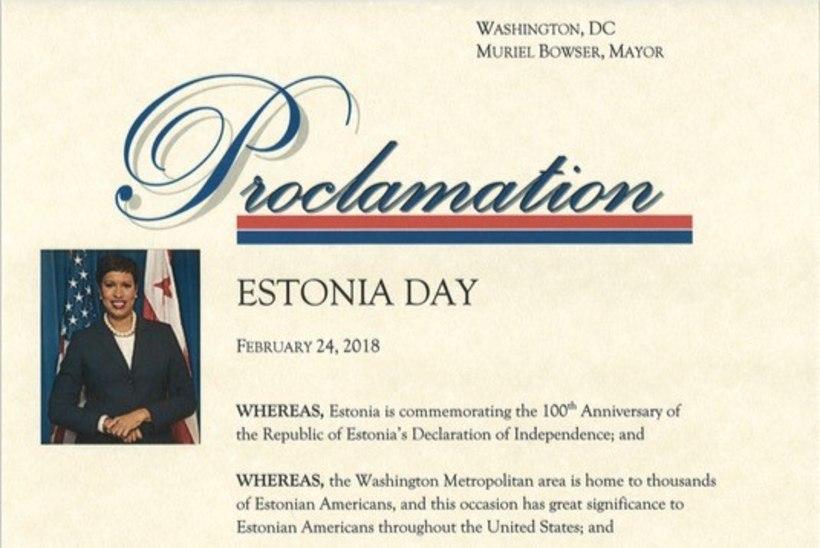 """Washingtoni linnapea kuulutas tänase päeva """"Eesti päevaks"""""""