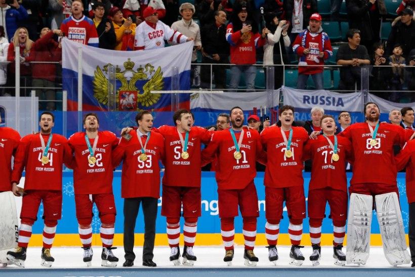 VÕITJATELE LUBATUD? Olümpiavõitjaks tulnud Venemaa hokimehed astusid ROKi keelust üle