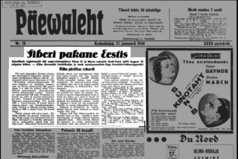 Pilguheit minevikku: 1940. aasta rekordpakane tappis vareseid ja lõhkus telefonikaablit