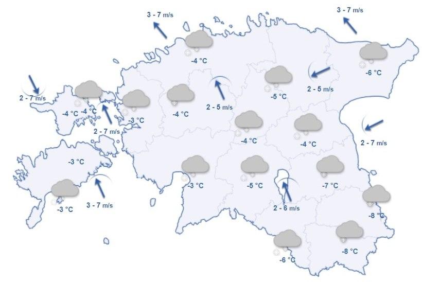 ILMAPROGNOOS: teisipäev tuleb lumine