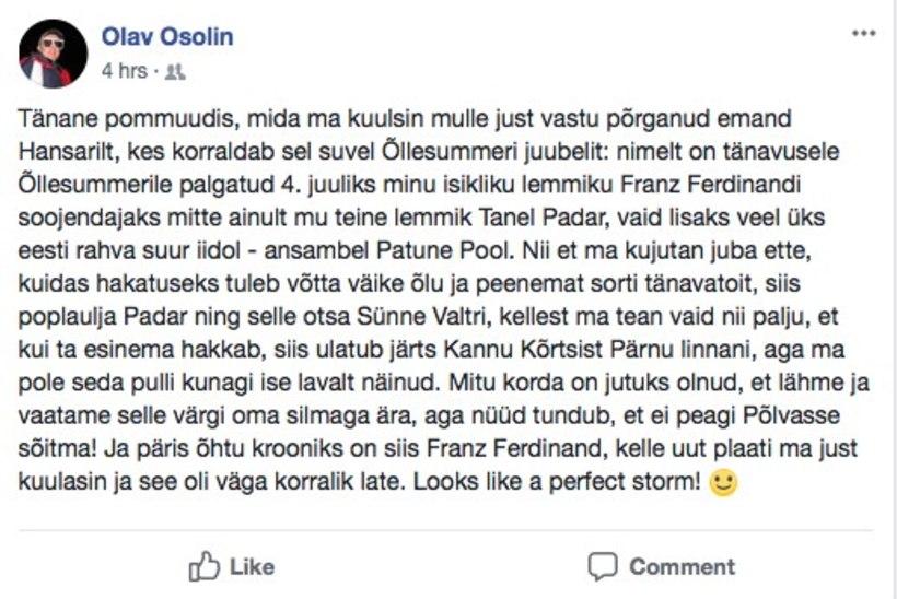 Patune Pool soojendab Õllesummeril Franz Ferdinandi