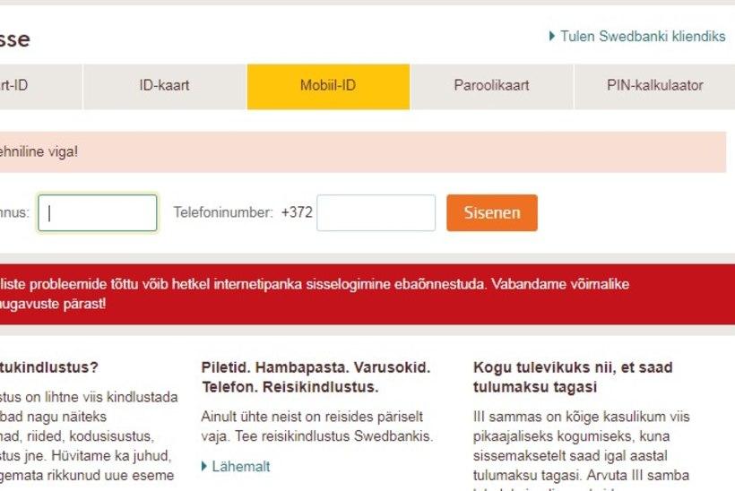 Swedbanki e-teenuste töö oli häiritud