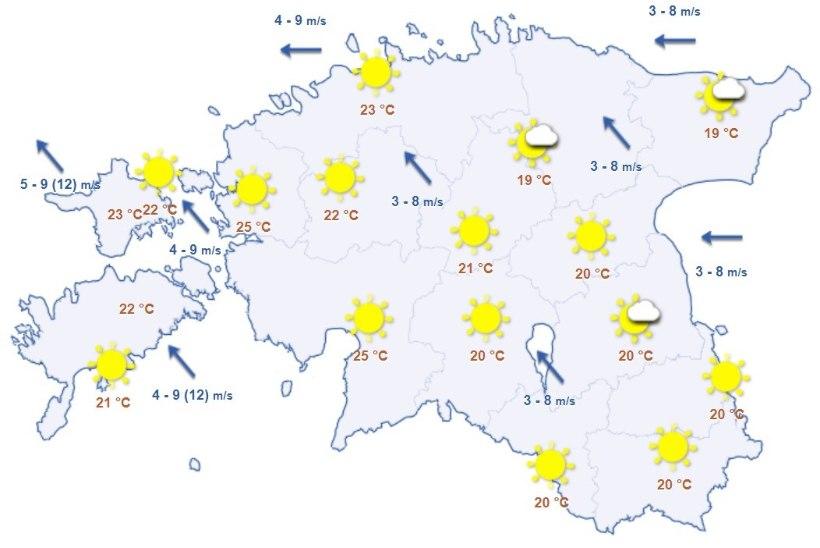 ILMAPROGNOOS: nädalavahetusel võib nautida 25kraadist sooja