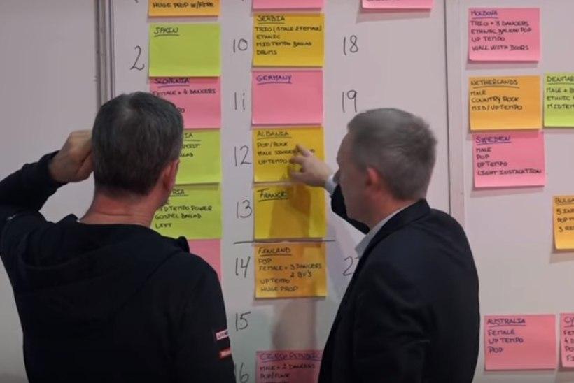Eurovisioni esinemisjärjekord pannakse paika seinale kleebitud märkmepaberite abil
