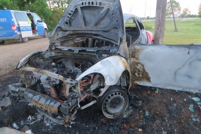 Purjus naine rammis posti, nii et uus auto põles käkraks
