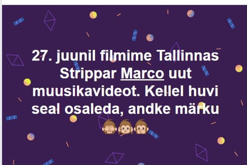 ÜLESKUTSE! Strippar Marco otsib julgeid kodanikke muusikavideos osalema