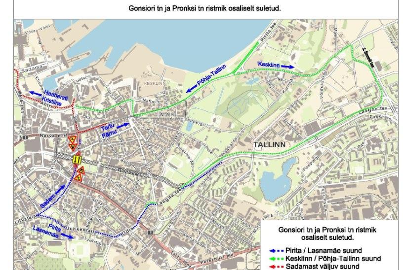 KAART | Teeremondi tõttu suletakse osaliselt Gonsiori ja Pronksi tänava ristmik