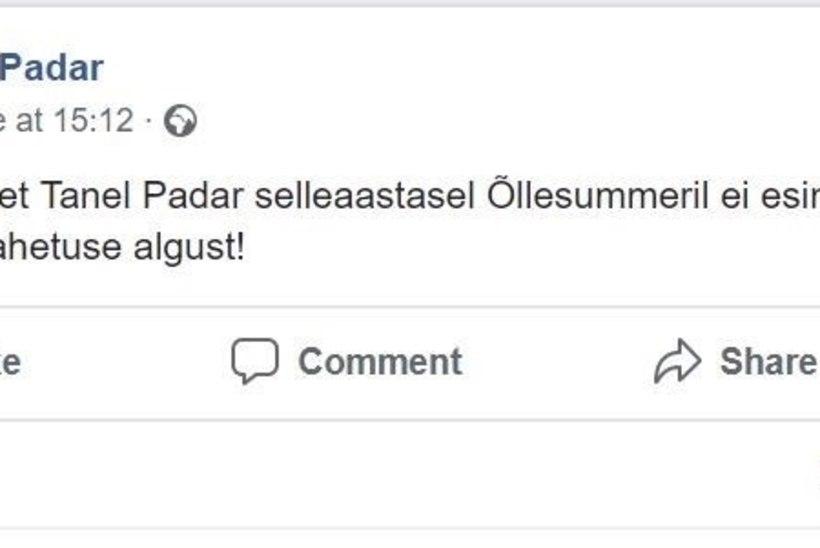 Tanel Padari bänd ei esine Õllesummeril, sest ei saanud pürotehnikat kasutada?