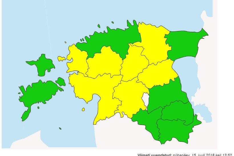 Ilmateenistus andis üle poolele Eestile äikesehoiatuse