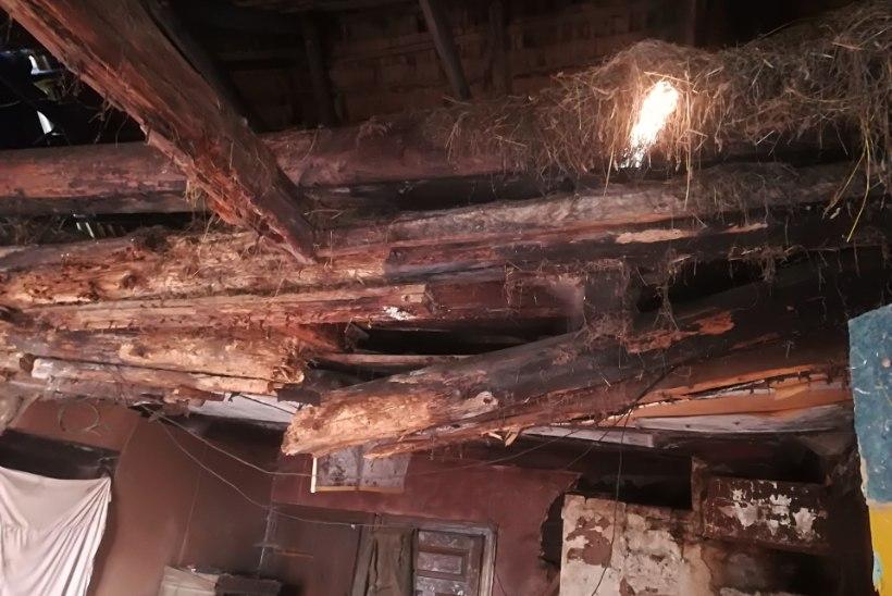FOTO | Pärnumaal varises kokku elumaja lagi, sealsamas viibinud eakas elanik pääses ehmatusega