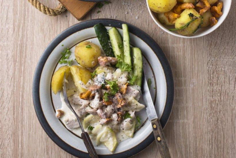 Koorene panniroog kana, suvikõrvitsa ja kukeseentega
