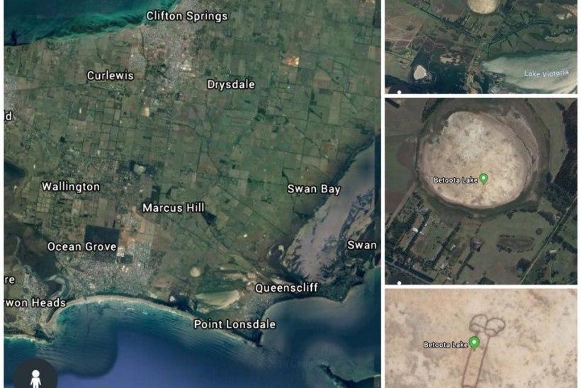 FOTO   Austraalias tekitati järve põhja peenise kujutis, mis paistis kätte isegi kosmosest