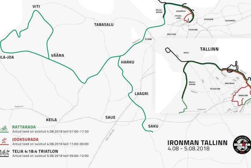 KAART | Maailmakuulus triatlon toob Tallinnasse uue liikluskorralduse