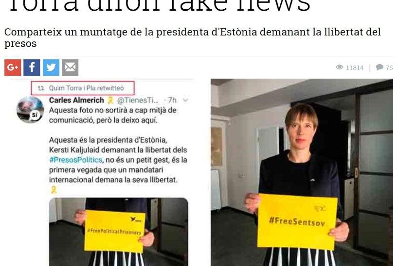 Kataloonia president jagas Twitteris võltsitud fotot Kersti Kaljulaidist