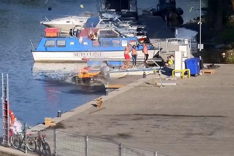 ŠOKEERIV VIDEO   Tartus Karlova sadamas plahvatas jett, sõitja paiskus kõrgele õhku
