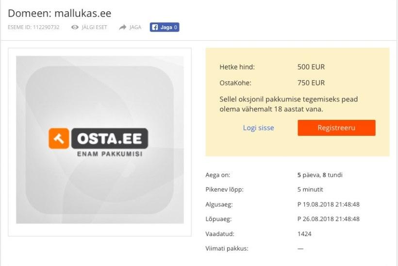 Müügil on Malluka-nimeline domeen, aga see pole seotud kuulsa blogijaga!