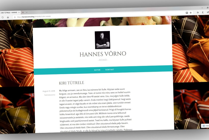AASTA KÜSIMUS: kas oma salalapse paljastamisega jahmatanud Hannes Võrno kiri tütrele on tõsi või ilukirjandus?
