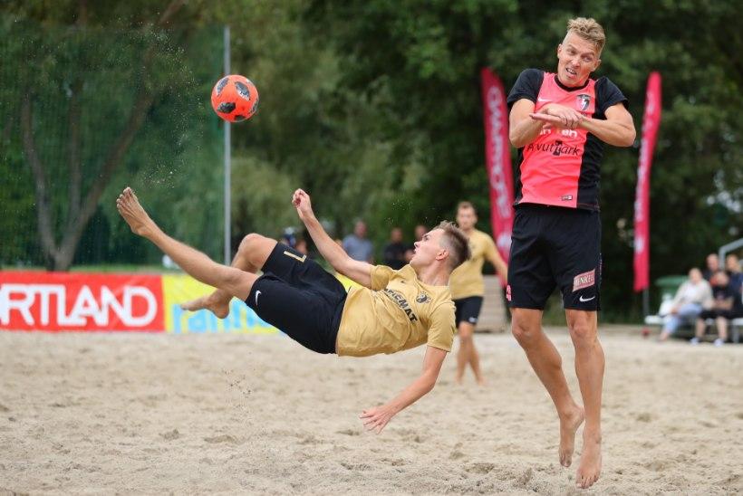 JÄRELVAADATAV | Kevadine karikafinalist jäeti rannajalgpalli finaaletapil tühjade pihkudega