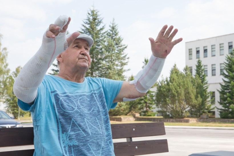 KOERARÜNNAKU OHVER: elukas hüppas mulle otse kõrri, kuid mul õnnestus käsi ohverdades talle nupuvõte teha!