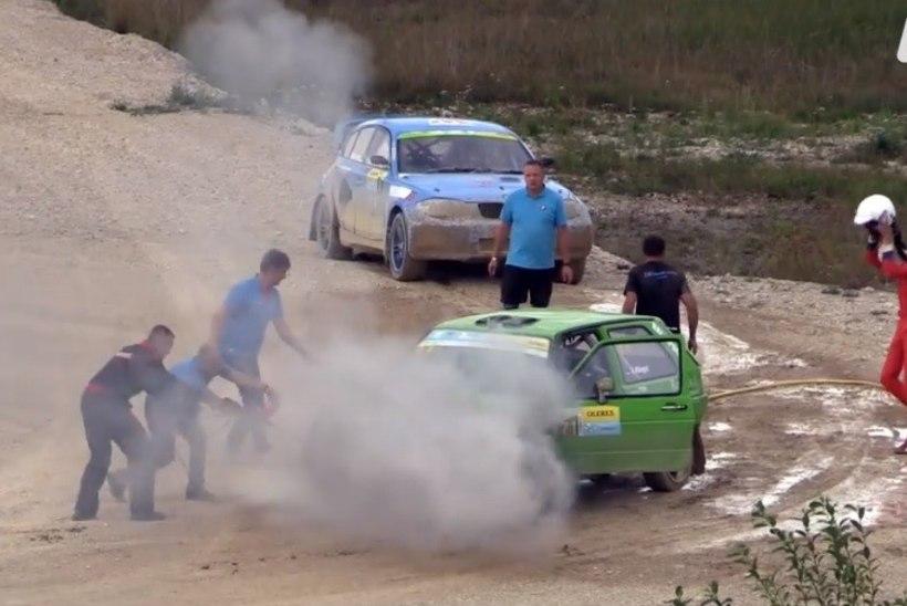 Lääne-Virumaal peetud rallivõistlusel süttis auto põlema!