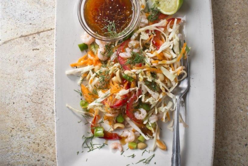 Aasiapärane köögivilja ja kreveti salat