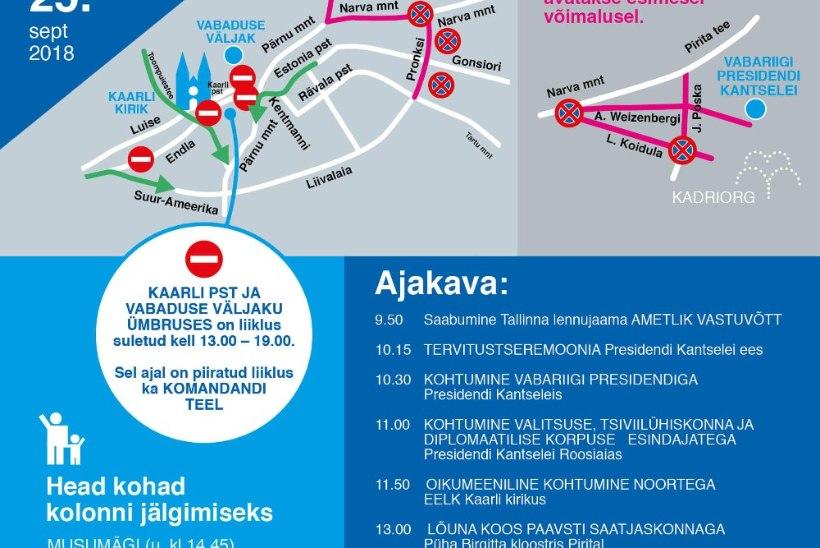 KATOLIIKLUSKAOS: paavst Franciscuse visiit ummistab Tallinna liikluse