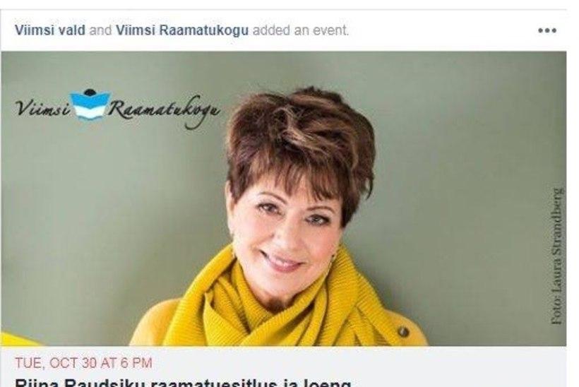 Viimsi vald ei näe probleemi reklaamida Riina Raudsiku raamatuesitlust