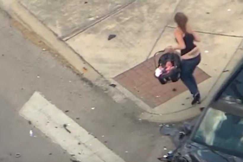 VIDEO | Naine põgenes politsei eest gaas põhjas, beebi autos