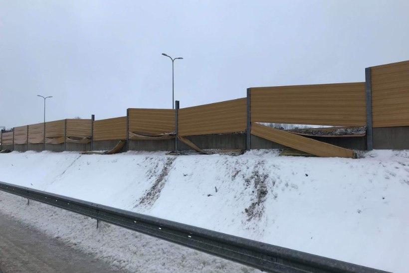 FOTOD | SUUR ÄPARDUS: Tallinna ringteel sõideti sassi mitusada meetrit müratõkkeseina
