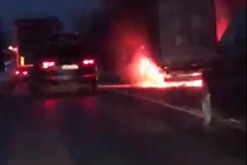VIDEO | Harjumaal Kernu lähistel lahvatas veoauto leekidesse