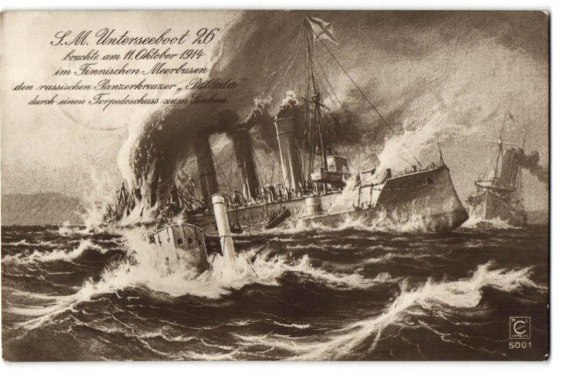 MINEVIKUHETK | 11. oktoober: Saksa allveelaev lasi Soome lahel põhja Vene ristleja Pallada