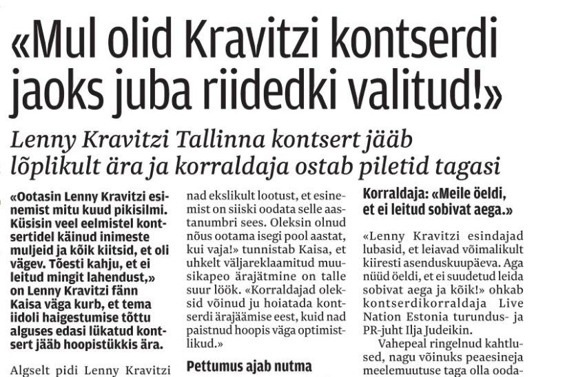 Lenny Kravitz esineb üle kümne aasta taas Eestis