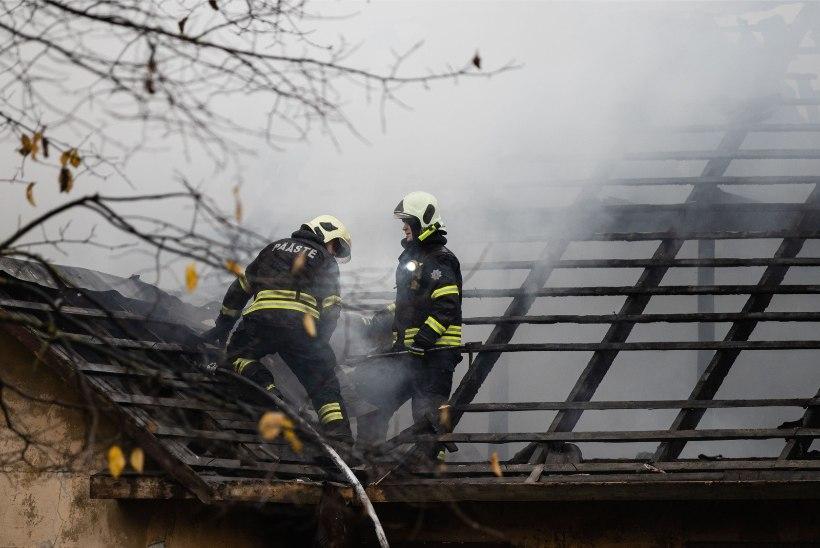 FOTOD | Kopli tänaval põles maja lahtise leegiga, päästjad on saanud tule kontrolli alla