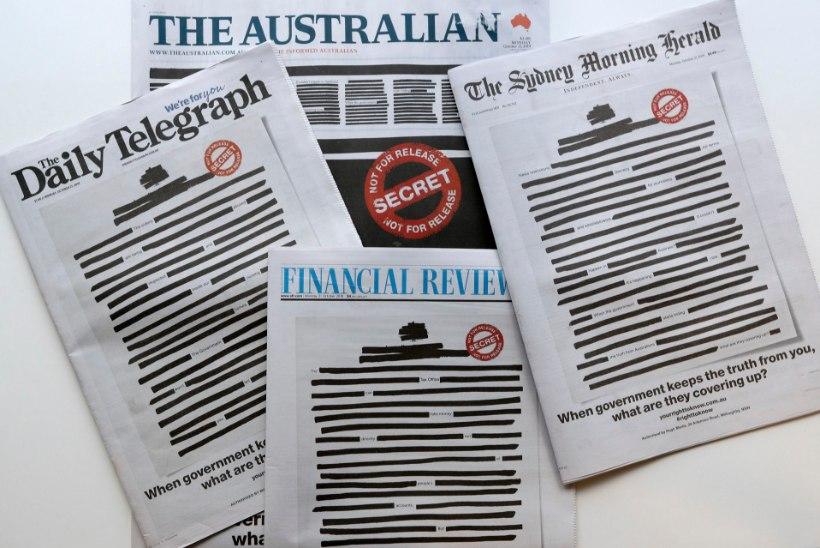 PROTEST: Austraalia suuremad päevalehed ilmusid mustaks tsenseeritud esikülgedega
