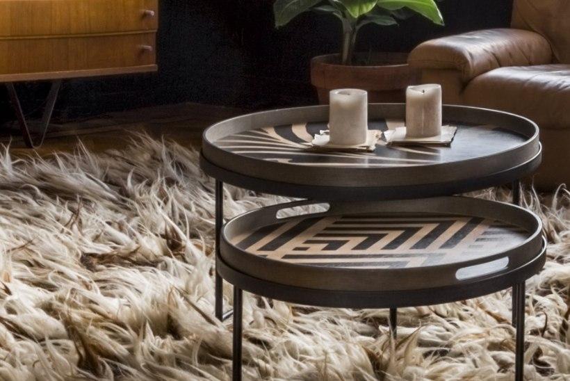 Art Deco arhitektuurist ja geomeetrilistest mustritest inspireeritud kandiklauad annavad toale väärika aktsendi