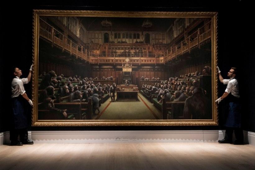 AHVID BRITI PARLAMENDIS: Banksy maal müüdi oksjonil rekordhinnaga