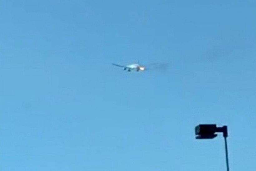 VIDEO | ÕUDUSHETK: suure reisilennuki Boeing 777 parem mootor süttis lennu ajal põlema