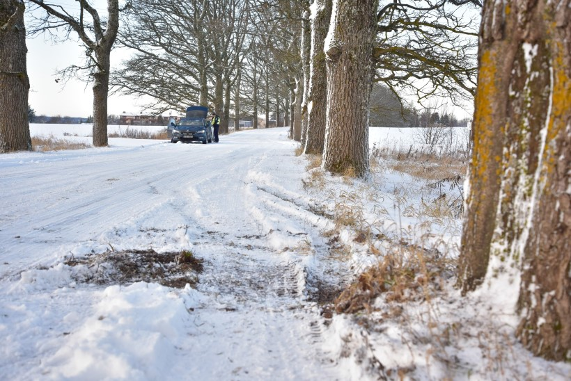 FOTOD   Viljandimaal sõitis auto vastu puud, kaks inimest viidi haiglasse