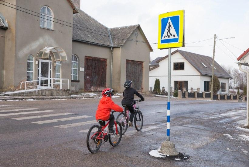 Pereisa pelgab, et liiklusmärk võib lastele pähe kukkuda