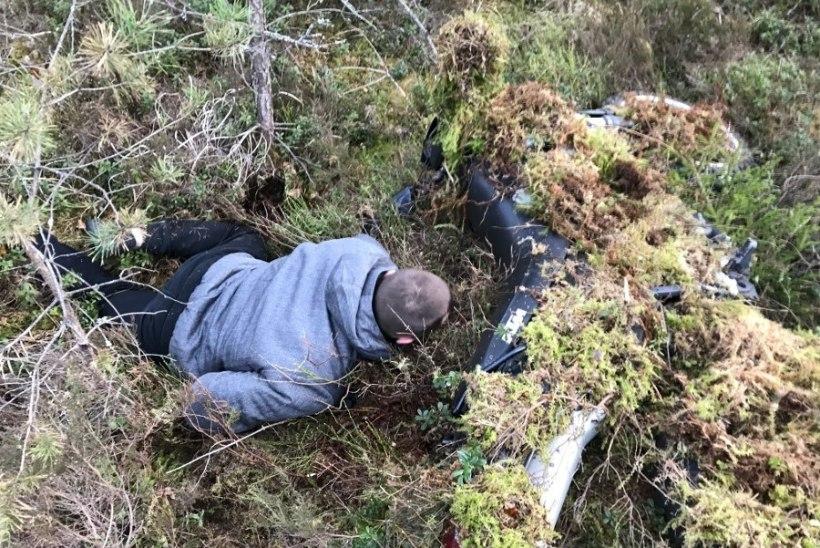 Фото: мотоциклист попытался спрятаться от полиции под мхом и даже не заметил, как полицейские его нашли