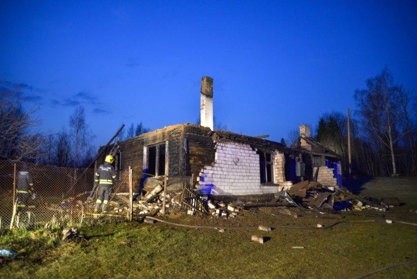 VIDEO JA GALERII | Päästjad jäid metsatalusse sõites mudasse kinni, maja hävis tules