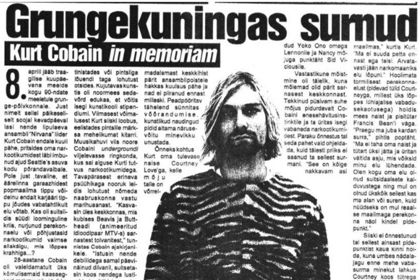 Kuidas reageeris kodumaine ajakirjandus Kurt Cobaini surmale?
