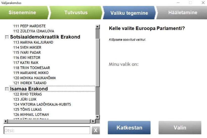 APSAKAS HÄÄLETAMISRAKENDUSES: europarlamendi kandidaatide nimekirjad olid segi paisatud