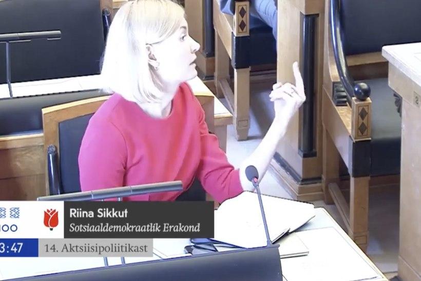 VIDEO | Nagu lasteaias! Riina Sikkut selgitas riigikogu istungil Mart Helmele pikkpeetri tähendust