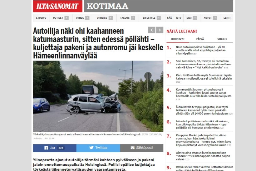 Eesti numbrimärgiga auto põhjustas Helsingis liikluskaose