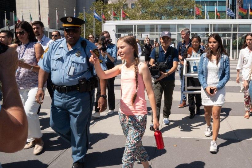 Kliimaaktivist Greta Thunberg innustas New Yorgi noori